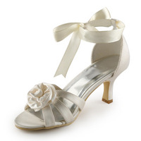 wholesale free shipping 2014 white satin fabric flower women's shoes sandals 34 -46