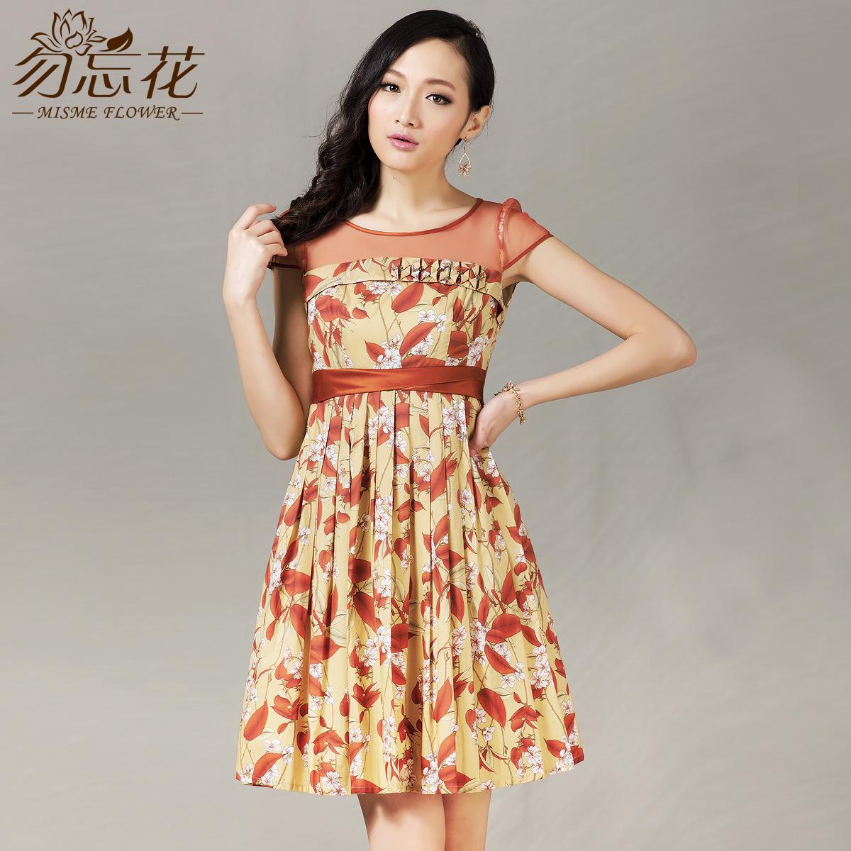Flower women's 2013 summer fancy gauze patchwork w3213 one-piece dress(China (Mainland))