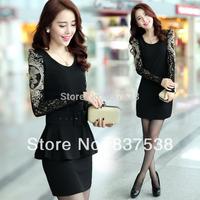 2014 New plus size Women Ladies Sexy Cotton Casual Lace Dress long sleeve Chiffon dress slim dress S-3XL