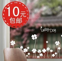 Lucky four leaf clover ofhead wall stickers glass stickers tijuexian