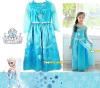 2014 Frozen Elas dress  Print Brand  3-8y girls  dress   long sleeve  Girl Clothing Long Princess Party Dress Children's Cloting