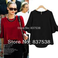 Womens solid tops Chiffon Blouse 2014 Spring-Summer Ladies Blusa /Shirt roupas femininas Women Clothing M-5XL plus size