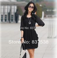 New and Fashion 2014 Summer Brief Loose Women Chiffon Mini Dress Casual Plus Size Women clothing  4XL white/black Sleeve Dress