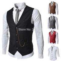 Man Spring 2014 Fashion Brand Boss Mens Single Breasted Designer V-neck Slim Fit Casual Suit Vest Men Waistcoat Jacket Coletes