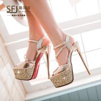 2014 Summer PU Material Women's Sexy Platform Crystal High Thin Heel Breathable Comfortable Princess Sandals