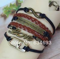 Retro Alloy Love Lock Leather Chain Cuff Bracelet Infinity Charm Fashion Love Man Costume Jewelry