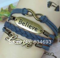 Trendy Woven Blue Leather Rope Believe LOVE Infinity Bracelet Alloy Charm Men' Jewelry