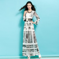 Xinyu spring spring/summer 2014 new original design printed chiffon jumpsuits women L076SP14 wide-legged pants of the dress