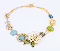 New Arrivals Pearls Flowers Blossom golden chains blue green gems vintage Women Fine Fashion Necklace wholesale free shipping