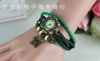 10pcs/lot Women Genuine Leather Vintage Watch,bracelet rhinestone Wristwatches flowers,Free Shipping