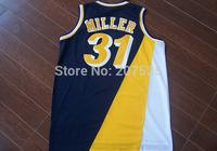 Indiana #31 Reggie Miller Dark Blue Retro Throwback Basketball Jersey, New Rev 30 Embroidery Logo Miller Sport Jersey