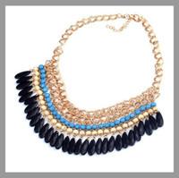 Layered Bohemian Tassels Fringe Drop Vintage Gold Choker Chain Neon Bib Statement Necklace For Women necklaces & pendants