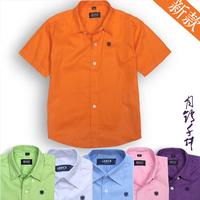 2014 male child summer child white shirt 100% cotton short-sleeve casual all-match shirt child shirt