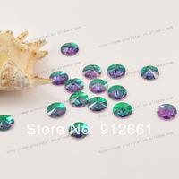 Free shipping 180pcs 10mm Emerald Sew On Crystal Glass Rhinestone Crystal Rivoli Round Flatback