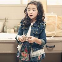 2014 New Arrival Children Little Girls Spring Denim Long Sleeve Jeans Jacket Floral Print Set Suit For Kids clothing set