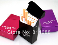 Free Shipping aluminium alloy cigarette case hold 20pcs women men Smoking novelty gadget Cigarette box /holder Random Colors