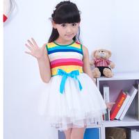 new arrival girl's ribbons dress Children's clothing summer 2014 little girl's color stripe yarn dress one-piece dress