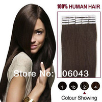 "20"" Remy PU Tape Human Hair Extensions straight  20pcs/set  50g  #2 dark brown"