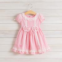 2014 New,girls princess dresses,children summer pink dresses,bow,lace,2-8 yrs,5 pcs / lot,wholesale kids clothing,1091