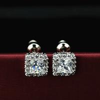 Fashion sparkling princess female stud earring inlaying zirconium diamond earring the wedding earrings accessories