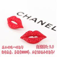 Accessories fashion sexy stud earring fashion rhinestone red lip stud earring earrings in ear female