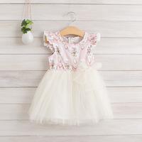 2014 New,girls floral dress,children summer princess dress,bow,white/pink/green,2-8 yrs,5 pcs/lot,wholesale kids clothing,1092