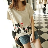 2014d preppy style women's cartoon cat t-shirt
