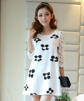 2014 lace patchwork print long-sleeve chiffon one-piece dress