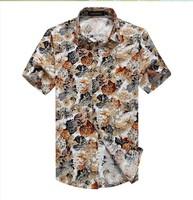 Free shopping new 2014 summer famous brand desgin floral print  dress 7 sleeve mens shirts slim fit plus size 6xl shirt men/DCS6