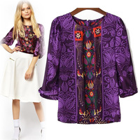 2014 spring and summer women symmetrical seventh printing lantern sleeve T-Shirt Free Shipping