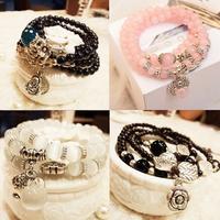 Natural agate crystal tourmaline garnet fashion vintage multi-layer beaded female circleof bracelet