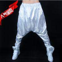 Silver paillette hiphop hanging crotch polka dot loose big crotch  hip-hop  female harem pants