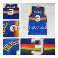 Denver #3 Allen Iverson Rainbow Blue Throwback Basketball Jersey, Cheap Snow Mountain Embroidery Logos Iverson Sport Jersey