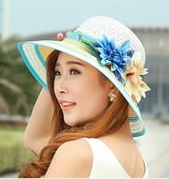 Spring 2014 new Fashion Women Wide Large Brim Flower Summer Beach a Sun hat Straw Hats Flower Cap summer hats for women chapeu