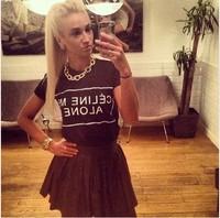 2014 summer women t-shirt loose short o-neck letter alone basic t shirt Tops & Tees cotton T-Shirt Free shipping