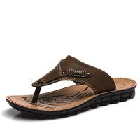 Summer shoes new men's casual shoes everyday men herringbone slippers beach men sandals shoes leather sandals Slides Flip Flops