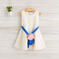 2014 New summer,girls lace floral dresses,children princess vest dress,sashes,flower,2-8 yrs,5 pcs / lot,wholesale,1099