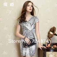 Freeshippng 2014 New Fashion summer silk one-piece dress one-piece dress mulberry silk short-sleeve V-neck