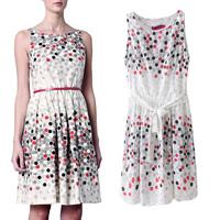 2014 women's summer fashion Winny polka dot ol elegant sleeveless chiffon one-piece dress female