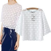 2014 spring Winny basic lace shirt sweet flower lace short shirt design basic shirt female