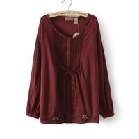 Fashion women 2014 blusas camisas femininas  chest ruffle embroidered loose real madrid blusas  atacado roupas femininas blouse