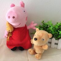 Free Shipping 2 Pieces 30cm Peppa Pig Plush Toys Peppa With Teddy Bear And 18cm Peppa Pig teddy bear plush toys