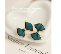 Korean fashion personality quality resin blue bow temperament cute charm earrings C536