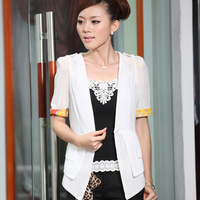 Autumn OL outfit suit fashion all-match slim coat color block short-sleeve top