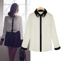 New arrival 2014 fashion shirt women's chiffon shirt long-sleeve shirt beading color block shirt