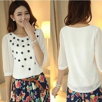 plus size female chiffon shirt half sleeve three-dimensional small flower top short-sleeve shirt free shipping