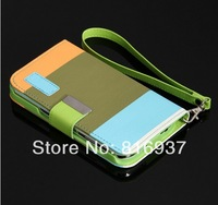 Fashion Wallet Case Flip Leather case Cover Stand with Card Holder for Sumsung  S3  S4 Free Shipping
