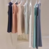 Basic sleeve length spaghetti strap basic vest loose summer original design linen medium-long spring