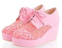 2014 Spring ShoesLace Cutout LacingRound Toe Women's Wedges Shoes Sandals Trend Women's Platform Shoes Pumps/Free Shipping