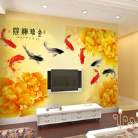 Peony wallpaper mural wallpaper hd fish tv background wallpaper chinese style blooping rich